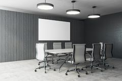 Modern meeting room with banner. Modern meeting room interior with empty banner and furniture. Presentation and workplace concept. Mock up, 3D Rendering Royalty Free Stock Images