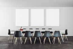 Modern meeting room with banner. Modern meeting room interior with empty banner on wall. Presentation and nobody concept. Mock up, 3D Rendering Stock Photos
