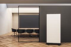 Modern meeting room with billboard. Modern black wooden meeting room interior with empty white billboard and furniture. 3D Rendering vector illustration