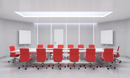 Modern Meeting Room. 3d Illustration. Modern Meeting Room With Red Chairs. 3d Illustration Stock Photography