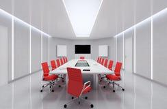 Modern Meeting Room. 3d Illustration. Modern Meeting Room With Red Chairs. 3d Illustration Stock Photos