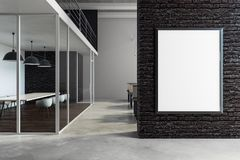 Modern meeting room with empty billboard. Modern meeting room interior with empty billboard on wall. Mock up, 3D Rendering Royalty Free Stock Photos