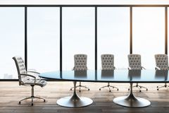 Modern meeting room. Interior with panoramic city view, furniture and daylight. 3D Rendering stock illustration