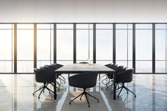 Modern meeting room. Interior with panoramic city view, furniture, laptop on desktop and daylight. Toned image. 3D Rendering vector illustration