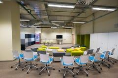 Modern meeting room interior in Skolkovo Technopark. Skolokovo, Russia - October 16, 2017: Modern meeting room interior in Skolkovo Technopark Royalty Free Stock Photo