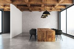 Modern meeting room. Interior with furniture and panoramic New York city view. 3D Rendering Royalty Free Stock Image