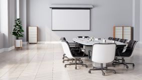 Modern Meeting Room with projector screen. 3D illustration