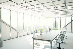 Modern meeting room. Side view of modern meeting room with city view and sunlight. 3D Rendering Royalty Free Stock Photos