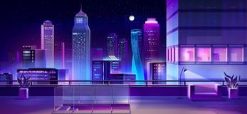 Modern megapolis at night, urban town architecture royalty free stock image