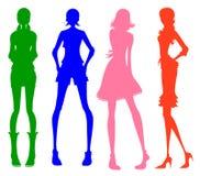 Modern meisjessilhouet Stock Fotografie