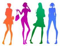 Modern meisjessilhouet Royalty-vrije Stock Fotografie