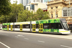 Modern Melbourne Tram the famous iconic transportation in the town Royalty Free Stock Image