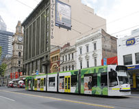 Modern Melbourne Tram the famous iconic transportation in the town Stock Photos
