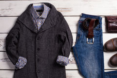 Modern men's clothing and accessories. Stock Photo