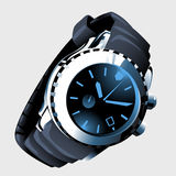 Modern mens watch with metal strap and black dial Stock Image