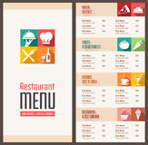 Modern menu Template. A Modern Restaurant Menu Template with nice Icons in Flat Shadow Style Stock Photography