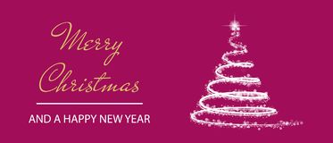 Modern Merry Christmas And A Happy New Year Background With White Reflecting Tree - Vector Illustration Isolated On Pink royalty free illustration