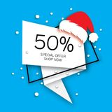 Modern Merry Christmas paper cut sale banner. Santa Claus Red Hat. Gift box. Special offer, 50 percents discount Stock Images