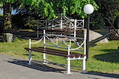 Modern metal bench Stock Photo