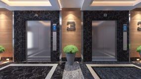Modern metal elevator design. Idea 3d rendering Royalty Free Stock Photos