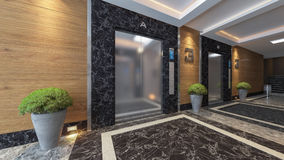 Modern metal elevator design. Idea 3d rendering Royalty Free Stock Photography
