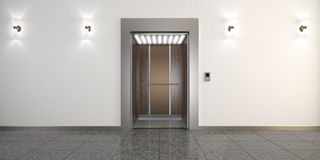 Modern metal elevator with open doors, hall interior. Modern metal elevator with open doors and hall interior 3D illustration Stock Photography