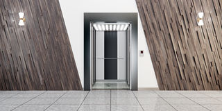 Modern metal elevator with open doors, hall interior. Modern metal elevator with open doors and hall interior 3D illustration Stock Images