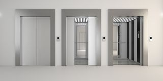 Modern metal elevator with open doors, hall interior Royalty Free Stock Photos