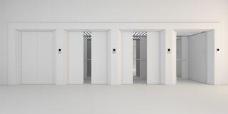 Modern metal elevator with open doors,white hall interior Stock Image