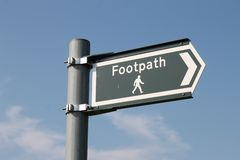 Modern metal footpath sign, England Stock Photography