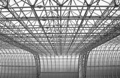 Metal roof construction. Modern metal and glass roof construction stock images