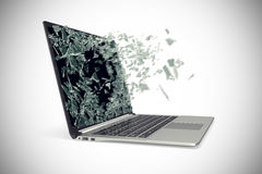 Modern metal laptop with broken screen isolated on white background. 3d illustration Stock Photos