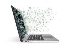 Modern metal laptop with broken screen isolated on white background. 3d illustration.  stock photos