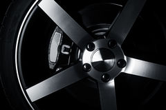 Modern metal rims on car Stock Photography