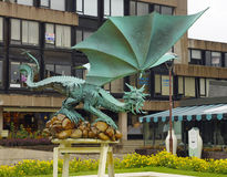 The modern metal sculpture of dragon in the Braga city Stock Photo