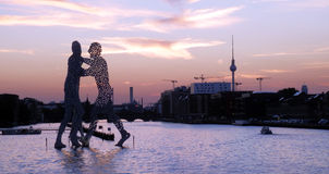 Modern metal statues in Berlin. Color detail photography of sculptures on the river in Germany royalty free stock images