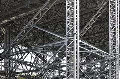 Modern metal structure of columns and trusses. Royalty Free Stock Image