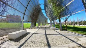 Modern metal structure at Vale Grande City Park in Lisbon. Modern metal structure at Vale Grande City Park - west park, Alta de Lisboa - Lisbon, Portugal stock footage