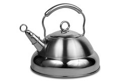 Modern metal teapot. On a white background Stock Photo