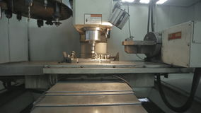 Modern Metal Working Machine. Steel metal cutting machine process by CNC lathe in workshop stock video