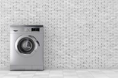 Modern Metalic Washing Machine. 3d Rendering Royalty Free Stock Photo