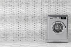Modern Metalic Washing Machine. 3d Rendering Royalty Free Stock Images