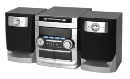 Modern metallic colored radio. Studio photography of a modern compact hi-fi system in white back Royalty Free Stock Photo