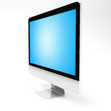 Modern metallic computer on white background 3D rendering. Modern silver and black metallic computer with blue screen 3D rendering Stock Image