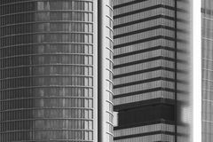 Modern metallic and glass building facade in black and white Stock Photo