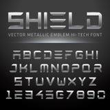 Modern Metallic Hi-Tech Font. Vector Techno Alphabet done in shiny metal Stock Images