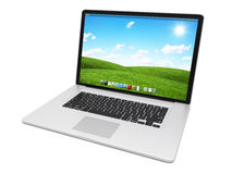 Modern metallic laptop on white background 3D rendering. Modern digital metallic silver and black laptop on white background 3D rendering Stock Image