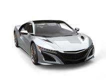 Modern metallic silver concept car - beauty shot Royalty Free Stock Photos
