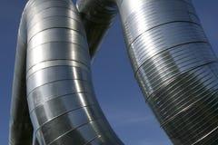 Modern metallic ventilation ducts stock photo
