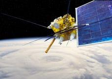 Modern meteorological satellite at the Earth orbit stock illustration